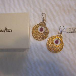 Neiman Marcus ZARA Filigree Ruby Earrings Boutique